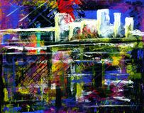 Abstract acrylic painting of a city. An abstract, grungy painting of a city, done in acrylic Royalty Free Stock Images