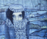 Abstract acrylic painting. Girl on a walk. Monochrome abstract acrylic painting. Walk in the cold. Picture of blue-eyed girl with short hair in a black fur coat Royalty Free Stock Images