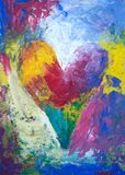 Abstract rainbow heart acrylic painting. Abstract acrylic painting of a heart in rainbow colors up in the colorful clouds Stock Photo