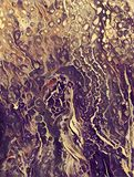 Abstract acrylic painting like sea. Abstract acrylic painting with cell on textured canvas Royalty Free Stock Images
