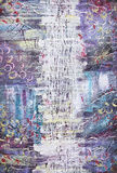Abstract acrylic painting. Water splashes. Acrylic colorful abstract painting in blue, violet an white colors. Canvas. Grunge background. White water splash stock illustration
