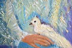 Abstract acrylic painting with white dove on a hand. Pigeon sitting on a palm Stock Photos
