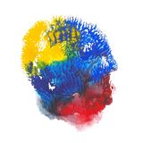 Abstract acrylic spot on white background. Red, blue, yellow vibrant color. Monotyped hand drawn grunge stain Royalty Free Stock Photo
