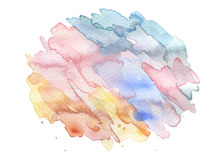 Abstract acrylic and watercolor brush strokes painted background. Texture paper. Isolated stock illustration