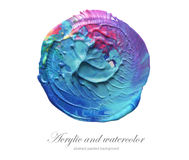 Abstract acrylic and watercolor circle paint background. Royalty Free Stock Photos