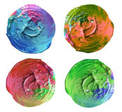 Abstract acrylic and watercolor circle painted background. Isolated Royalty Free Stock Images