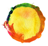 Abstract acrylic and watercolor painted background. Abstract circle acrylic and watercolor painted background Stock Photography