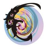 Abstract adelaarssymbool tegen de achtergrond van de aarde Stock Illustratie