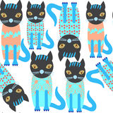 Abstract Adorable Cute Cats Seamless Pattern And Seamless Patte Royalty Free Stock Photography