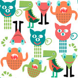 Abstract adorable monsters  seamless pattern and seamless patter. N in swatch menu, vector  image Stock Images
