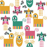 Abstract adorable monsters  seamless pattern and seamless patter Royalty Free Stock Photo
