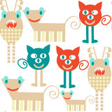 Abstract adorable monsters  seamless pattern and seamless patter. N in swatch menu, vector   image Stock Photo