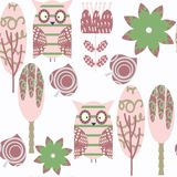 Abstract adorable nature owls seamless pattern. It is located in Stock Photography