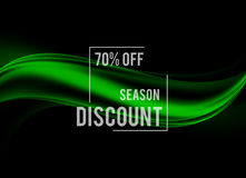 Abstract advertising sale design background. With discount rate and green waves in smooth dynamic elegant style. Vector illustration royalty free illustration