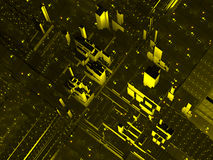 Abstract aerial city view. An aerial view of the city in black and yellow stock illustration