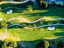 Abstract aerial photo of golf course. Abstract drone view photo of green golf course royalty free stock image