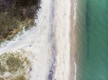 Sandy Beach and Waves from Above stock photo