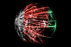 Abstract Afghanistan sparkling flag, Christmas ball concept isolated on black background.  royalty free illustration