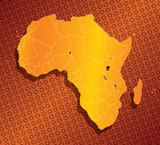 Abstract Africa map with country borders. Abstract Orange Africa map with country borders Stock Photos