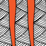 Abstract african pattern orange and black. Line disign Stock Photo