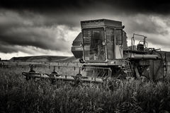 Abstract of an agricultural old Soviet USSR combine harvester cogs with rust Stock Photos