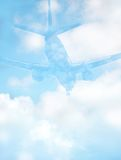 Abstract Airliner Background. Airplane Landing Background Texture; Concept: flight safety; clear blue sky royalty free stock photography