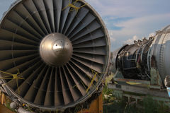Abstract airplane engine. Abstract detail of an airplane engine in junkyard Stock Images