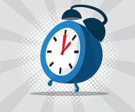 Abstract alarm clock with burst and halftone background. Vector illustration Stock Photography