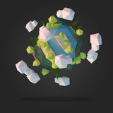 Abstract Alien Planet. Low Poly Geometry Design Vector Stock Images