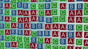 Abstract alphabet cubes in red,blue and green stock video footage