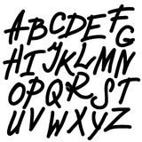 Abstract Alphabet, Digital Drawing Font, ABC. Abstract Sketch of Alphabet, Digital Drawing font, ABC, Black Letters on White Background Royalty Free Stock Photography
