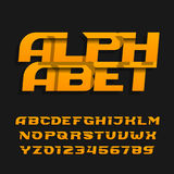Abstract alphabet font. Effect italic type letters and numbers on a dark background. Vector typeface for your design Royalty Free Stock Photo