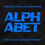 Abstract alphabet font. Effect type letters and numbers on a dark stripe background. Royalty Free Stock Photos