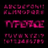 Abstract alphabet font. Type letters and numbers. Black background. Stock vector typeface for your design Stock Image