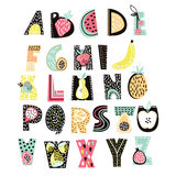 Abstract Alphabet fruit. Creative Kids font. Great for education, home decor. Stock Photography
