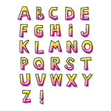 Abstract alphabet hand-drawn, with linear. Gradient, green and pink, cheerful cute style, with black shifted stroke, 80s vector illustration