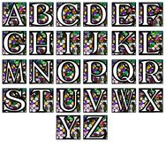 Abstract alphabet in mosaic. Set representing the letters of alphabet on a background made like a mosaic Stock Photo