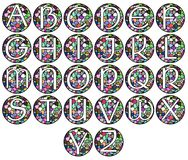 Abstract alphabet in mosaic isolated. Set representing the letters of alphabet on a background made like a mosaic Royalty Free Stock Photos