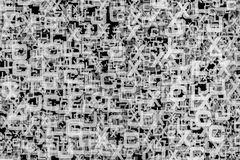 Abstract alphabet text background. Black and white letters in a chaotic schedule Stock Photography