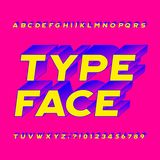 Abstract alphabet typeface. 3D effect colorful letters, numbers and symbols. Stock vector typography for your headers or any typography design stock illustration