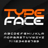Abstract alphabet typeface. Futuristic uppercase letters and numbers. Dark halftone background. Vector font for your typography design vector illustration