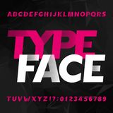 Abstract alphabet typeface. Futuristic uppercase letters and numbers. Dark polygonal background. Vector font for your typography design stock illustration