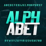 Abstract alphabet typeface. Modern style oblique letters and numbers. Dark abstract background. Stock vector typeface Royalty Free Illustration