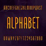 Abstract alphabet typeface. Thin type letters and numbers on a dark geometric background. Royalty Free Stock Images