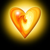 Abstract amber heart. On a dark background with the effect of luminescence stock illustration