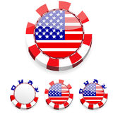 Abstract america casino chips. Set of abstract america casino chips stock illustration