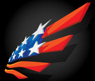 Abstract American flag. Abstract 3d American flag on black stock illustration