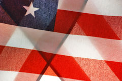 Abstract American Flag. American flag folded over back lit by sun Royalty Free Stock Photo