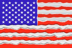 Abstract American flag. From torned paper. Patriotic USA background. Vector illustration Stock Image