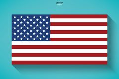 Abstract American flag with long shadow effect on green background. Vector illustration royalty free illustration